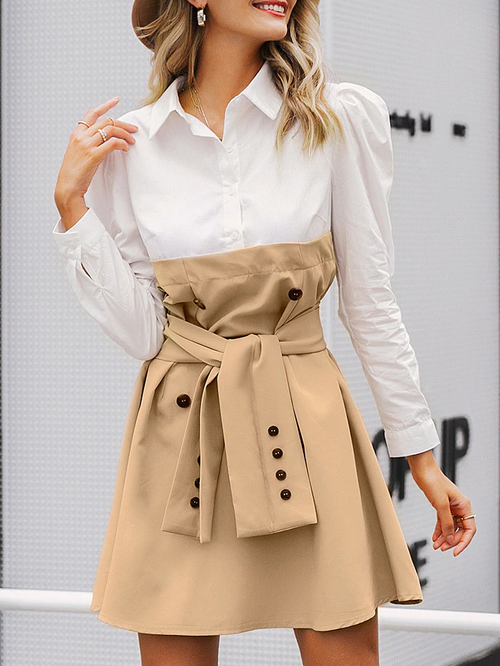 Trendy Colorblock Long Sleeve Shirt Dress, Single-breasted, Polyester