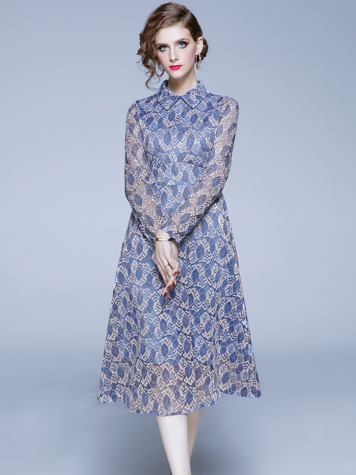 Slim Fit Leaves Pattern Long Sleeve Lace Dress, Turndown Neck, Blue, S-2XL, Zipper Up