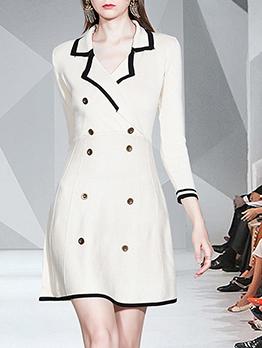 Smart Waist Long Sleeve Blazer Dress, One Size, Lapel, OL Style