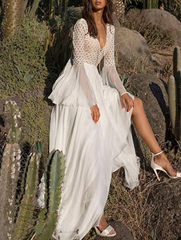 Bohemian White Chiffon Maxi Dress, S-2XL, Lace Hollow Patchwork