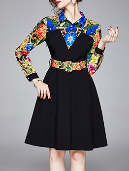 Turndown Collar Printed Patchwork Ladies Shirt Dress, Black, OL Style