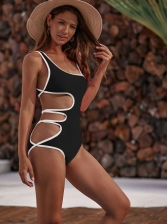 Sexy Side Hollow One Piece Ladies Swimwear, Contrast Tipping,80%Spandex