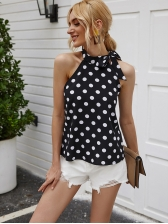 Classic Polka Dot Tie Neck Black Tank Top, Off Shoulder, Summer, Female