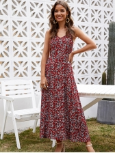 V Neck Sleeveless Fitted Floral Maxi Dress For Vacation, Red, Cotton, Floral
