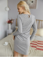 Lace Patch Long Sleeve Short Dress Casual, Knitting, Patchwork, Crew Neck