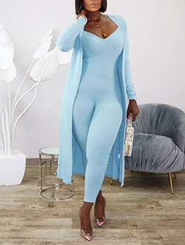 Spaghetti Strap Skinny Jumpsuit With Long Coat