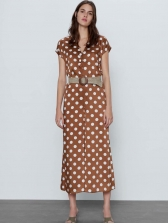 Coffee Color Polka Dot Wide Leg Jumpsuit, Loose, Button Up, Street Wear