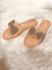 Rhinestone Bow Flat Slip On Slippers, Home, Casual, 3 Colors