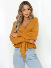 Ruffled Hem Tie-Bow Knit V Neck Sweater, Solid, Simple, Autumn Wear