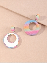 Round Hollow Out Gradient Color Women Earrings, Geometric, 2020, Trendy