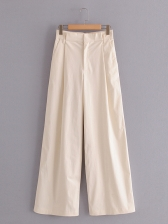 Patternless Side Pockets Wide Leg Pants, Solid Color, Full Length, Plain