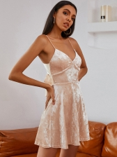 Spaghetti Straps Back Bow Short Dress, V Neck, Solid, Sexy Style