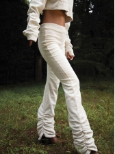 White Full Length Stacked Pants, Simple, Elastic Fly, High Waist