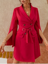 Stylish Tie-Wrap Solid Long Sleeve Dress, V Neck, Simple