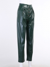 Brick Green Ankle Length Long Pants, PU, Side Pockets, Button Fly