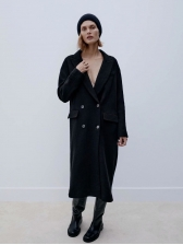 Euramerican Winter New Style Thicker Black Coat, Notch Collar, Casual