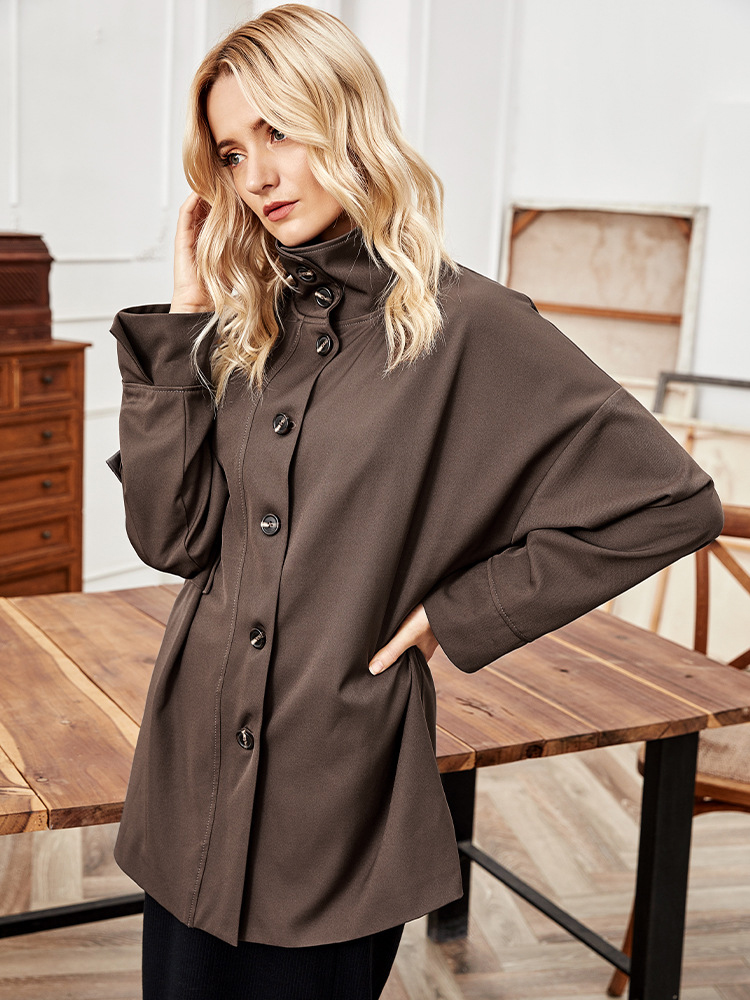 Coffee Color Single Breasted Blazer For Women, Simple, Fall, Polyester