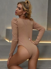 Puff Long Sleeve Solid One Piece Bodysuit, Fitted, Simple