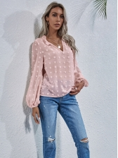 Loose Flocking Lantern Long Sleeve Womens Blouses, V Neck, Casual