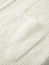 Simple White Lantern Long Sleeve Cardigan, Solid, Knitted