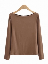 Casual Pure Color Long Sleeve Tee Shirts, Cotton, Bateau Neck