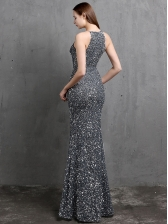 Sequined High Vent Party Evening Dresses, Sleeveless, Floor Length