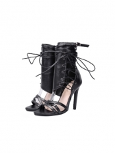 Side Zipper Lace Up Women Boots, Night Club, Stiletto, Solid Color