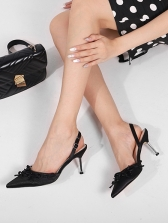 Pointed Toe Bow Decorated Women Heels, Solid Color, Elegant
