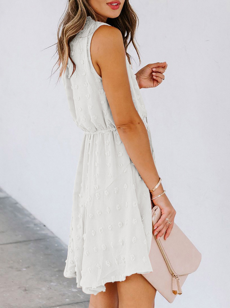 Solid Color Sleeveless Summer Dresses, Flowing Hem, Casual Style