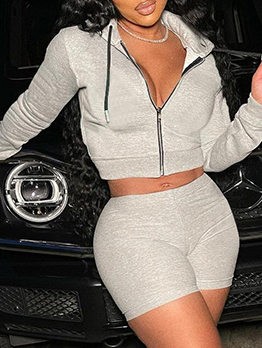 Sport Casual Hooded Collar Two Pieces Short Set