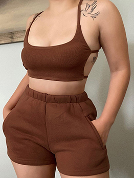 Casual Camisole Top Two Piece Short Set