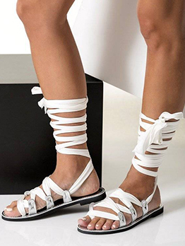 Cross Lace Up Casual Beach Flats Sandals For Women