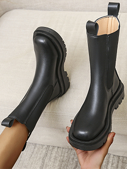New Look Black Plush Chunky Soles Martin Boots