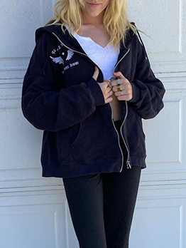 Casual Wings Embroidery Zipper Up Black Coat