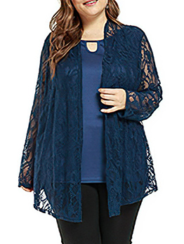 New Solid Lace Long Sleeve Women Coat