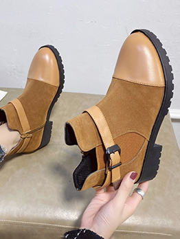 Korean Style Solid Belt Buckle Suede Ankle Boots