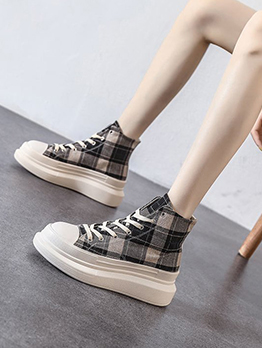 Youthful Plaid Lace Up Thick Bottom Ankle Boots