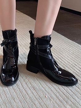 Trendy Solid Buckle-Loop Ankle Boots