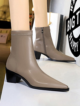 Adorable Solid Zipper Up Pointed Boots