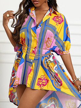 Casual Colorful Printed Long Sleeve Loose Dress