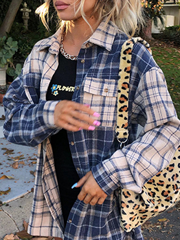 Youthful Plaid Contrast Color Single-Breasted Coat