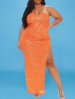 Sequined Sexy Backless Off Shoulder Halter Maxi Dress