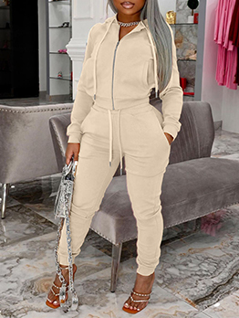 Casual Autumn Solid Hooded Collar Tracksuits Set